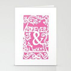 Forever & Always - Pink Stationery Cards by Rachel Winkelman - $12.00