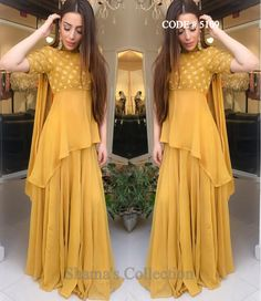 5109 Mustard Gharara/Sharara With High Low Kurti On sale till march Party Wear Indian Dresses, Designer Party Wear Dresses, Pakistani Dresses Casual, Indian Gowns Dresses, Indian Bridal Outfits, Indian Fashion Dresses, Dress Indian Style, Pakistani Dress Design, Indian Designer Outfits