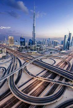 Roads and Bridges, Dubai, United Arab Emirates Dubai City, Dubai Uae, Abu Dhabi, Places To Travel, Places To See, Places Around The World, Around The Worlds, Beautiful World, Beautiful Places