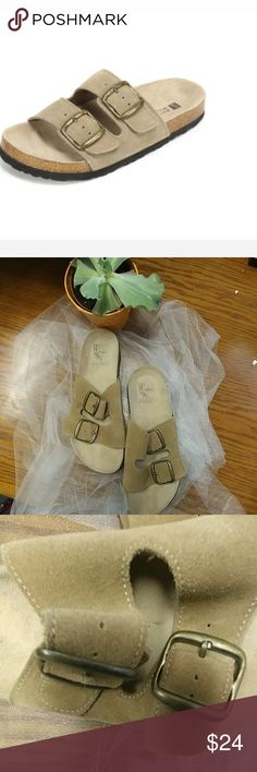 White Mountain Shoes Helga Taupe Open toe slide-on sued sandal featuring a genuine leather upper and a contoured footbed for comfortable fit. Shoes have never been worn but a silly person used a pen to write the price on the insole...your foot will cover that I'll nicely though! ?? White Mountain Shoes Sandals