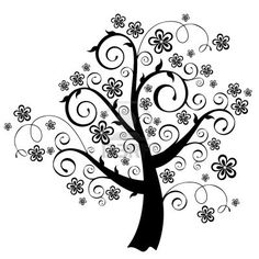 Swirly tree with blooming flowers Stock Vector Worli Painting, Fabric Painting, Mosaic Patterns, Embroidery Patterns, Spiral Tree, Cute Little Drawings, Celtic Tree Of Life, Art Vintage, Quilling Designs