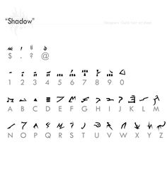 """Shadow"" Fontref + resources by Designers-Guild resource tool how to tutorial… Cool Symbols, Rune Symbols, Alphabet Code, Alphabet Symbols, Fictional Languages, Ancient Alphabets, Different Alphabets, Designers Guild, Writing Inspiration"