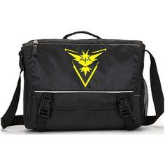 Team Instinct Pokemon Go Parody Laptop Messenger Bag Add a name for... ($23) ❤ liked on Polyvore featuring accessories and tech accessories