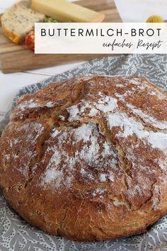 Buttermilch Brot backen - Rezept: Buttermilchbrot backen ist mit diesem Brot Rezept einfach. Als Brot im Topf ist es schnell zubereitet. Das Dinkelbrot ist unheimlich knusprig und lecker.