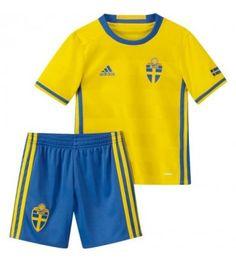 Sverige Tröja Barn 2016 Hemmatröja Kortärmad Euro 2016 Fans, Uefa Euro 2016, Fan Gear, Nye, Sweden, Russia, Adidas, Mini, Swimwear