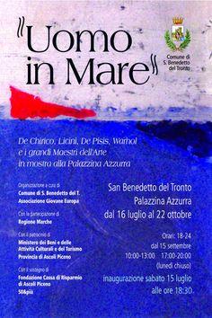 Uomo in mare:De Chirico Licini De Pisis Warhol e i grandi maestri dellArtein mostra aSan Benedetto del Tronto
