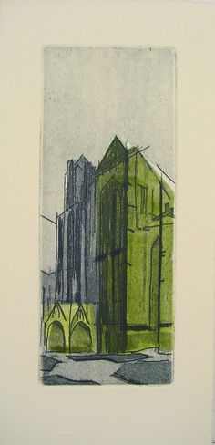 etching of a church