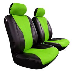 2pcs Front Universal Size Car Seat Covers: Material: Faux Leather w/t Mesh with 5mm think sponge padding (front) + Polyester (back) Easy to install and remove Fit: For most SUV or Mid-size Truck Color: Green / Black Toyota Tacoma Seat Covers, Holden Commodore, Car Seats, Ford, Black Leather, Mesh, Green, Truck, Color Black