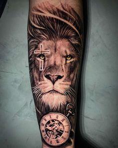 Lion Leg Tattoo, Lion Shoulder Tattoo, Lion Forearm Tattoos, Lion Tattoo Sleeves, Lion Head Tattoos, Mens Lion Tattoo, Cross Tattoo For Men, Lion Tattoos For Men, Back Cross Tattoos