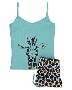 Giraffe Vest and Shorts Pyjama Set