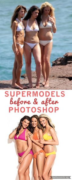 Supermodels before & after Photoshop #airbrushing #models #beauty    THIS MAKES ME SO HAPPY.
