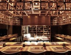 Timber Blocks spanning the ceiling. Fat Cow Restaurant by Brewin Concepts