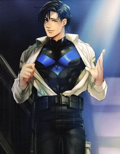 Officer Grayson by rikoshiriko. I love Nightwing for his personality, and because he's absolutely beautiful, inside and out. And, ya know... He had an adorable crush on Batgirl back in the day that actually came to fruition! Teh he!