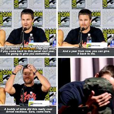 Stephen Amell Gives his Arrow Necklace to a young cancer fighter! #SDCC2017