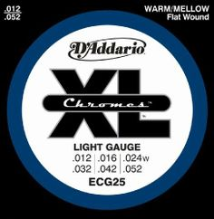 D'Addario ECG25 Chromes Flat Wound Electric Guitar Strings, Light, 12-52 by D'Addario. $7.99. From the Manufacturer                ECG25, one of D'Addario's best selling flatwound sets, delivers a smooth feel, warm/mellow tone and tighter tension, ideal for traditional jazz playing.D'Addario Chromes are wound with flattened stainless steel ribbon wire which is polished to an incredibly smooth surface. Chromes deliver a distinctive damped but tone-rich sound that only fla...