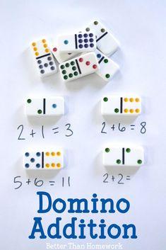 Domino Addition - Creative Family Fun Kindergarten Math Activities, Montessori Math, Homeschool Math, Preschool Learning, Math Resources, Teaching Math, Online Homeschooling, Montessori Bedroom, Montessori Toddler