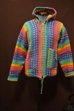 Neon rainbow knitted sweatshirt, zipup hoodie, psychedelic party,festival clothing, rainbow pride, poncho sweater, rainbow bright, gay pride by SerialMateriaL on Etsy
