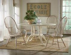 white washed chairs w/ glossy white painted table