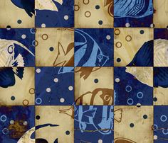 Checkered Blue Fish fabric by pencreations on Spoonflower - custom fabric