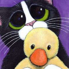 """""""I'm Scared. Can I Sleep With You?"""" - Cute tuxedo cat holding a fluffy toy duck. #cats #greetingcards #animals #catlover"""