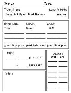 Preschool toddler daily report chart