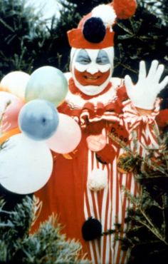 John Wayne Gacy Jr., aka The Killer Clown, (1942-1994) serial killer and rapist. Killed 33 teenaged boys and young men, burying 26 of them in the crawl space of his home, between 1972-78 in Chicago. Died by lethal injection in 1994. Another reason I hate clowns.