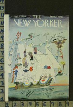 1960 N.YORKER ILLUS STEINBERG ART COVER POLITICAL SATIRE CARTOON FASHION ZT25