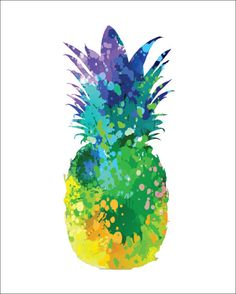 PINEAPPLE Archival Art Print 8 x 10 Multi-color Watercolor Silhouette Painting Pineapple Print Wall Decor Home or Office, Kitchen or Gift