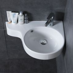 Corner Wall Mounted Bathroom Basin – Ceramic Compact Corner Bathroom Sink is a perfect compact bathroom basin for small spaces in your house or apartments. The smart design of this bathroom sink ensures there is some bench space to keep small packs Corner Sink Bathroom Small, Small Downstairs Toilet, Corner Basin, Compact Bathroom, Corner Wall, Sinks For Small Bathrooms, Corner Space, Small Toilet Decor, Small Toilet Room