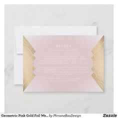 Geometric Pink Gold Foil Wedding Enclosure Card Geometric by Phrosne Ras Design Glitter Wedding Invitations, Gold Invitations, Modern Wedding Invitations, Wedding Invitation Design, Wedding Cards, Seashell Wedding, Geometric Wedding, Gold Foil, Gatsby