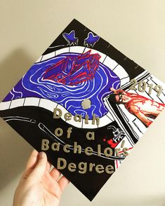 Happy Graduation to all! Here's my cap: : panicatthedisco Funny Graduation Caps, Graduation Cap Designs, Graduation Cap Decoration, Grad Cap, High School Graduation, College Graduation, Graduation Quotes, Graduation Announcements, Graduation Invitations
