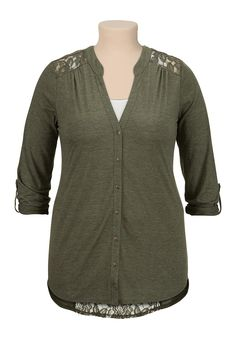 high-low lace back button down top