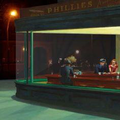 I nottambuli - Edward Hopper Edward Hopper Paintings, Modern Art Paintings, Singer Sargent, Art Hoe, City Art, Aesthetic Art, Cinematography, Les Oeuvres, Pop Art