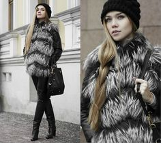Prada Bag, Prada Leather Jacket, No Name (Greece) Fur Vest,  Celyn B. Leather Pants, Sergio Rossi Boots