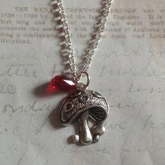 Mushroom charm necklace by CharlysGems on Etsy, £10.00 plus p&p