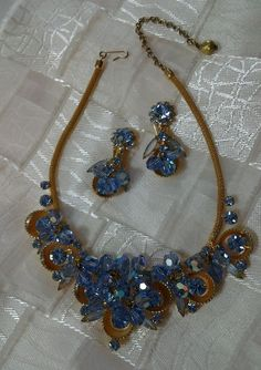 vintage juliana style necklace and earring set #Juliana