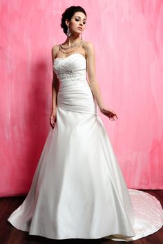 A-Line Sweet Heart Satin Chapel Train Wedding Dress (WGH500744) [Item Code:#WGH500744] - $165.00 _ Cheap Wedding Dresses,Cheap prom dresses