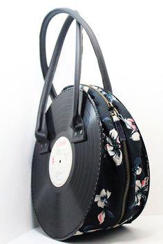 Vinyl Records Bag, Vinyl Handbag, Handmade Purse, Vinyl Lovers, Hipster Bag, Unique