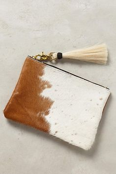 Tasseled Calf Hair Pouch - anthropologie