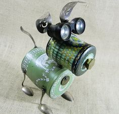 Assemblage Art | Art Assemblage / Robot Dog Assemblage Sculpture PERIDOT A Real by ...