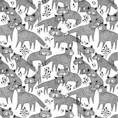 Monochrome fox print, black & white pattern // Maja Safstrom