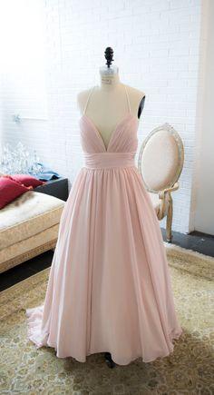 Blush Chiffon Flowy Simple Wedding Dress with by IDoCoutureBridal
