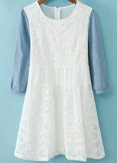 White Contrast Half Sleeve Embroidered Dress pictures