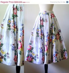 Fabulous 1950s Barkcloth Circle Skirt $72 SassySisterVintage on Etsy