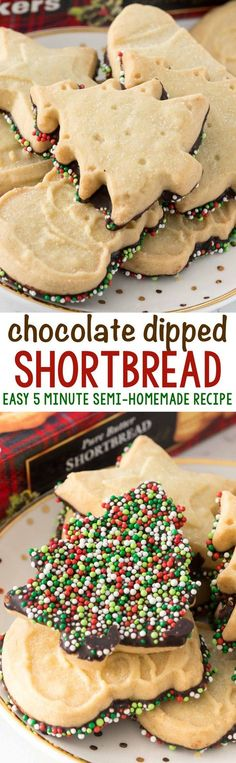 Chocolate Dipped Shortbread - an easy 5 minute semi-homemade recipe for when you need a quick dessert or gift! Chocolate Dipped Shortbread - an easy 5 minute semi-homemade recipe for when you need a quick dessert or gift! Holiday Cookies, Holiday Desserts, Holiday Baking, Just Desserts, Holiday Recipes, Delicious Desserts, Christmas Recipes, Holiday Foods, Holiday Treats