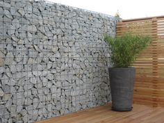 gabion fence/modern wood fence combo (use pallets for some of the fencing!)