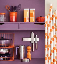 Orange and purple kitchen!