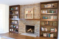 bookshelves around fireplace - Google Search