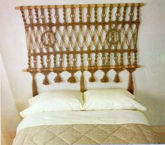 "Macrame Headboard For Bed Macrame Pattern Vintage Fringe Macrame Jute Cord Rope Wall Hanging Pattern Headboard 63"" x 30 PDF Instant Download by PatternMuseum on Etsy https://www.etsy.com/listing/222935837/macrame-headboard-for-bed-macrame"