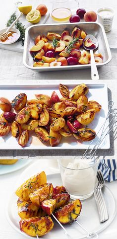 For a quick and delicious post-barbecue treat, try our recipe for barbecued peaches and nectarines served with syllabub and shortbread biscuits. Nectarine Recipes, Fruit Recipes, Veggie Recipes, Summer Recipes, Vegetarian Recipes, Veggie Food, Dessert Recipes, Desserts, Vegetarian Grilling